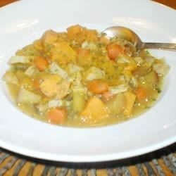 Harvest Pork Stew Recipe - Butternut squash and apples give this savory stew a hint of sweetness. It can be made on the stovetop or in a slow cooker.