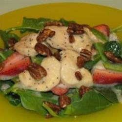 Lime-Berry Chicken Salad Recipe - A delightful spinach salad with strawberries, snap peas and chicken is topped off with an outstanding homemade poppy seed dressing.