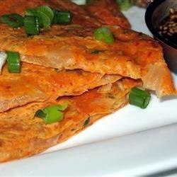 Kimchi Jun (Kimchi Pancake) and Dipping Sauce