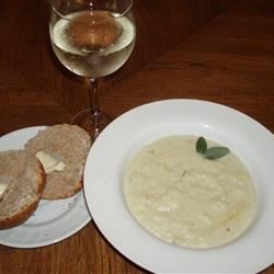 Cream of Cauliflower and Stilton Soup Recipe - I first experienced this great soup at a little cafe and bookstore near the train station in Edinburgh, Scotland. The Stilton makes all the difference!
