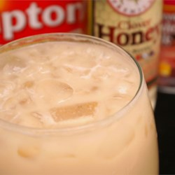 Honey Milk Tea - Hong Kong Style Recipe - This sweet milky iced tea is just like what you'd find in a Hong Kong tea shop.