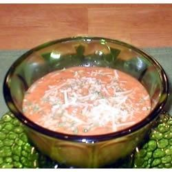 Easy Tomato Crab Soup Recipe - Crabmeat is simmered with tomato soup, diced tomatoes and half-and-half in this quick cream soup.