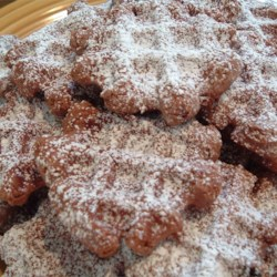 Chocolate Waffle Cookies Recipe - These taste like brownies.  I always double this recipe! They are also good frosted with sprinkles or chopped nuts.