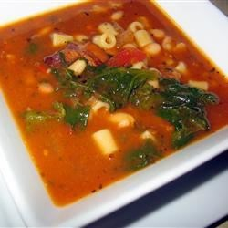 Pasta Fagioli Soup II Recipe - A quick and easy Italian favorite. Garnish with grated Romano cheese.