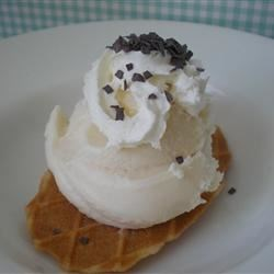 Vanilla Ice Cream V Recipe - No-cook, no eggs, made with half-and-half and cream. Great, simple, classic vanilla ice cream! This is designed for an old-fashioned ice cream maker that yields 1 gallon; be sure to scale recipe down if you have a countertop model.