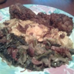 Collard Greens with Fried Chicken and Scalloped potatoes