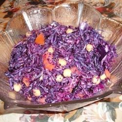 Red Cabbage and Chickpea Salad Recipe - This quick and easy salad combines chickpeas, chopped red cabbage, tomatoes, and onions in a tahini salad dressing, or substitute your favorite dressing.