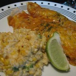 Mexican Sour Cream Rice and Chicken Enchiladas