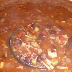 Amy's Mexican Soup Recipe - A spicy, pureed tomato- and chicken broth-based soup that features shredded chicken, spices, and two kinds of canned beans. Simple to prepare, this low-carb treat tastes even better the next day!