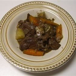 Beef Heart Braised in Wine Recipe - This strongly flavored organ meat is not for everybody, but those who enjoy it might like to try this version, prepared with carrots, potatoes, and onions in red wine sauce.
