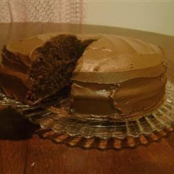 Rum Mocha Chocolate Cake Recipe - Two layers of chocolate cake, flavored with rum and coffee, with mocha rum frosting in the middle. Serve with whipped cream and cherries.