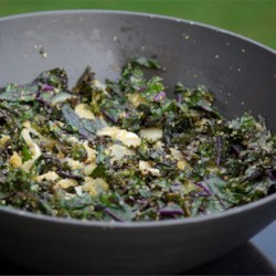 Stir Fried Kale Recipe - A great way to use up some of the extra kale you might have in your garden! You can use other similar greens in this recipe - spinach, mustard greens, and arugula will all work.  A mixture of greens is also quite good.  Serve as a salad, as a side dish, or as a main dish with rice.