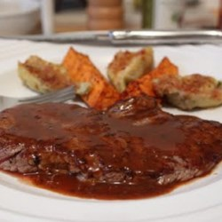 Minute Steaks with Barbeque Butter Sauce Recipe and Video - Take piece of beef sirloin, pound it thin and fry it for a minute on side. That's it. Simple, faster-than-fast, and delicious.