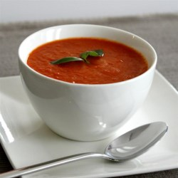 Rainbow Roasted Pepper Soup Recipe - The full color spectrum of bell peppers tossed in lemon juice and roasted with whole cloves of garlic are pureed with fennel infused vegetable broth to create this colorful low-fat soup.