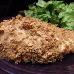 Easy Baked Chicken Recipe - Just a simple coating of French dressing and breadcrumbs is all it takes for crispy baked chicken breasts.