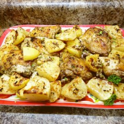 Greek Lemon Chicken and Potatoes Recipe and Video - Chef John's Greek Lemon Chicken and Potatoes are roasted until the the chicken skin is caramelized and crisp and potatoes are browned for an easy Greek-inspired dinner.