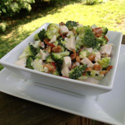 Chicken Broccoli Salad Recipe - This broccoli salad is a great way to use up leftover grilled chicken. The tangy mayonnaise dressing is easy to whip up, too.