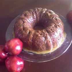 German Apple Dapple Cake Recipe - More apples than cake! Topped with a rich caramel sauce.