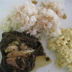 Lau Lau with rice and mac-potato salad
