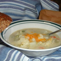 Vegetable Chowder Recipe - In this recipe, a variety of fresh vegetables are cooked in chicken broth and combined with a creamy cheddar cheese mixture which is seasoned with chopped parsley and ground black pepper.