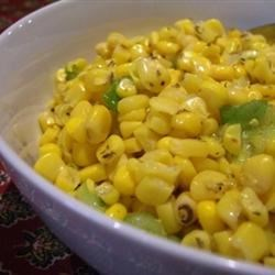 Easy Corn and Green Onion Salad Recipe - This side dish of corn and green onion is dressed in white wine vinegar, lime juice, and tarragon.