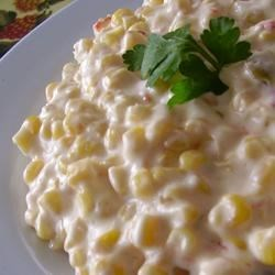 Mexican Corn Recipe - Corn simmered with cream cheese, butter, jalapeno peppers and garlic.