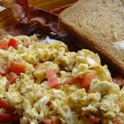 Feta Eggs Recipe - A very TASTY way to add zip to scrambled eggs.