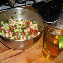 Jose's Shrimp Ceviche Recipe - Shrimp are marinated in lime juice, chopped, then tossed with tomatoes, hot peppers, celery and avocado for a zesty appetizer. Serve as a dip with tortilla chips or as a topping on a tostada spread with mayo. The fearless palate might like this with hot sauce.
