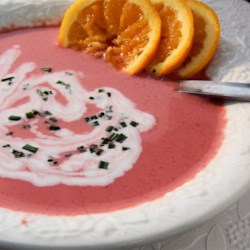 Chilled Orange Borscht Recipe - Its seems exotic, is pretty to look at and is a quick, sweet-sour way to take in the nutrients of beets - high in folic acid and antioxidants. Serve it in clear glass bowls for added appeal.