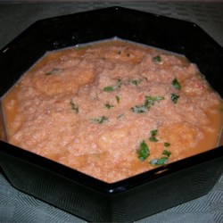 Shrimp Bisque Recipe - This low-fat shrimp bisque is packed with flavors of red pepper and tomato.