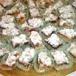 Raspberry Squares II Recipe - This recipe makes delicious bar cookies with raspberry jam and walnuts for a treat that is great for summer entertaining.