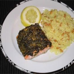 recipe: stephan's broiled salmon pesto [4]