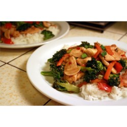 Sweet and Spicy Stir Fry with Chicken and Broccoli Recipe - Garlic, crushed red pepper, and chili paste add heat; hoisin sauce and ginger sweeten the deal. Great served over jasmine rice!