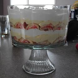 Easy Valentine's Day Trifle Recipe - Layer slices of ready-to-eat jellyrolls with strawberries, vanilla pudding and whipped topping for a colorful dessert that is easy to make and festive to behold.