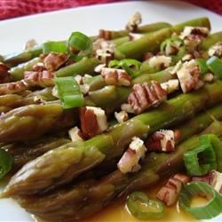 Asian Asparagus Salad with Pecans Recipe - Marinated asparagus is served cold with crunchy pecans and green onions.