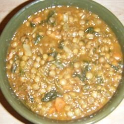 Spicy Lentil and Spinach Soup