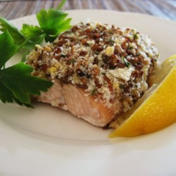 Alaska Salmon Bake with Pecan Crunch Coating Recipe - Baked salmon fillets with a crunchy pecan coating make an excellent main course.