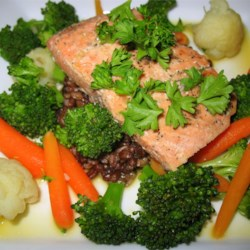 Orange Salmon with Rice Recipe - Salmon is smothered with an orange soy sauce and served on a bed of steaming rice.