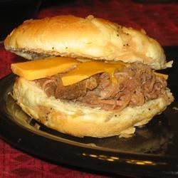 Italian Beef in a Bucket Recipe - Italian beef prepared with pantry ingredients. This is wonderful for Super Bowl and parties!  Adjustable according to how spicy you like it. I serve it on sub rolls with mozzarella cheese.