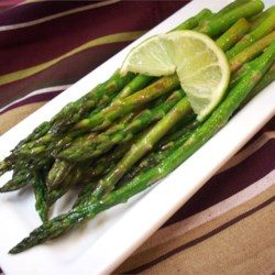Garlic Asparagus with Lime Recipe - A splash of lime lends zesty freshness to this early spring favorite.