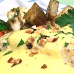 Blender Sauce Noisette (Hollandaise with Hazelnut Butter) Recipe - My mother makes this sauce, and the recipe has never failed!  This is a hazelnut variation of authentic Hollandaise sauce that is virtually foolproof! Serve with trout or salmon.