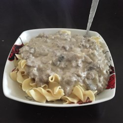 Quick and Easy Hamburger Stroganoff Recipe - Use canned cream of chicken soup and cream of mushroom soup to make a quick and easy stroganoff dish of ground beef and egg noodles.