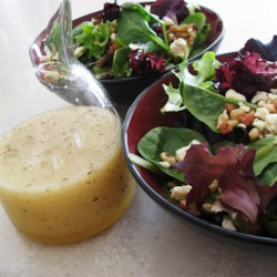 Raspberry Vinaigrette Dressing Recipe and Video - Everything goes into a jar and you give it a good shake. That's all there is to it - oil, raspberry vinegar, sugar, mustard, oregano and pepper.