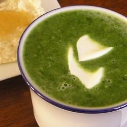 Cream of Spinach Soup Recipe - Sauteed chopped spinach is added to a roux-thickened mixture of milk and chicken bouillon for a fast and easy-to-prepare soup.  This technique works well with a variety of vegetables.