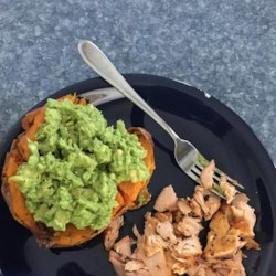 Simple Sweet Potatoes Recipe - Sweet potatoes get the savory treatment in this simple recipe that calls for avocado, onion, butter, salt, and pepper.