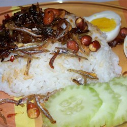 Malaysian Nasi Lemak Recipe - Delicious Malaysian coconut rice, served with anchovy hot chile sauce, fried anchovies, fried peanuts, sliced cucumber or tomato, and hard-boiled egg.