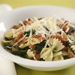 Spinach Basil Pasta Salad Recipe - Garlic and prosciutto are quickly fried together and tossed with spinach and basil leaves for a great summertime salad.