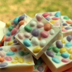 Jellybean Bark Recipe and Video - A simple and delicious Easter confection that combines creamy white chocolate and fruity jellybeans.