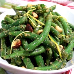 Green Beans with Hazelnuts and Lemon Recipe - The hazelnuts and lemon zest add a wonderful light touch.  It's a favorite!