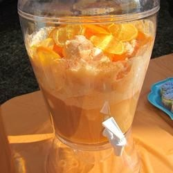 Orange Dream Punch Recipe - This is the easiest punch recipe ever. It was a big hit at my sister's bridal shower. Simply pour ginger ale over orange sherbet and orange juice concentrate.